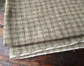 MidCentury Wool Tweed Fabric Made in England or Scotland, Heather Moss Greens, Project Fabric