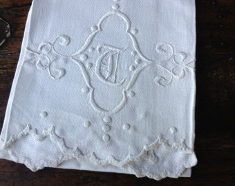 Antique French Heirloom White Linen Tea Towel Torchon ~ Decorative Hand Embroidered ~ Monogrammed