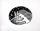 Girl and Rabbit Linocut Print Limited Edition of 100