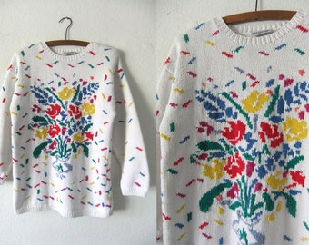 Confetti Floral Bouquet Oversize Sweater - Impressionist Style Flowers Norm Core Soft Cotton Jumper - Baggy Womens Small