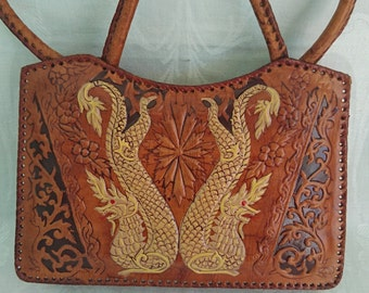Vintage Leather Handbag, Dragons and Dancers, Mandalay, Burma, Embossed and Dyed Leather, Two Handles, Inside Pocket