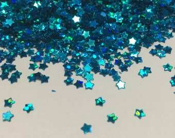 tiny blue color star confetti / sequins, 3 mm (24)