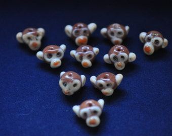 12 Cheeky Monkey Glass Beads SHIPPING INCLUDED