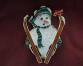 Vintage Christmas Brooch or Pin.  Skiing Snowman.  Excellent Condition.