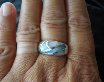 Vintage Silver Ring with Blue and White Shell, Size 9.  Stamped 925