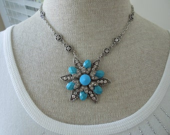 Vintage Pendant Necklace.  Silver Tone Chain with Large Rhinestone and Faux Turquoise Star Pendant