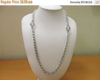 ON SALE Vintage Aluminum Chain and Beaded Station Necklace Item K # 599