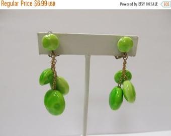 ON SALE Vintage Lime Green Dangle Earrings Item K # 681