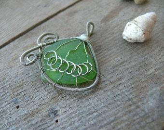 Wire wrapped pendant, sea glass jewelry, sea glass pendant gift, Birthday gift, beach glass, silver copper wire, green aqua sea foam, chain