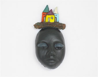 "Face, ceramic wall art, Jacquline Hurlbert, one of a kind, unique, title: ""Close to Home"""