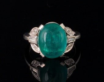 Sold! Spectacular 6.90 Ct natural emerald and diamond rare vintage ring