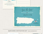 Puerto Rico Destination wedding invitation Puerto Rico Save the Date Postcard Caribbean wedding card- Deposit Payment