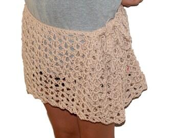 Cotton Sarong, Womens Clothing, Plus Size Skirt, Womans Beach Skirt, Cream Swim Cover Up, Mesh Tie Skirt, Summer Wrap Skirt, Pool Skirt