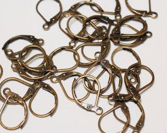 40pc Brass Lever Back Earring Hooks 10x15mm