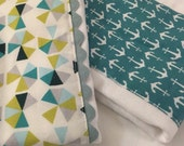 Diaper Burp Cloths; Baby Burp Cloths (Set of Two); Teal Anchors and Modern Geometric Print; Boutique Style Diaper Burp Cloths