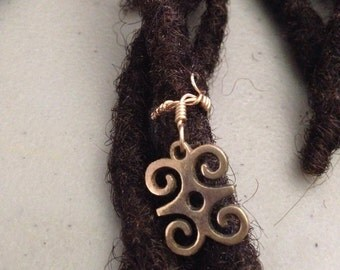 Adjustable Adinkra Dwennimmen Humility and Strength Symbol Hair Cuffs Wire Wrapped Hair Bead Dread Locs Dreadlock Jewelry Hair Accessory