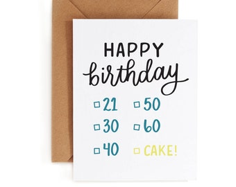 Birthday Card - 21st Card - 30th birthday card - 40th birthday - 50th birthday - 60th birthday - Cake Birthday Card