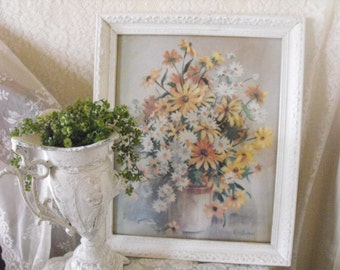 LARGE Shabby Chic Picture - white - distressed - Vase with Flowers 19 x 23 (14 x 20 photo)