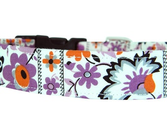 Purple and Orange Floral Dog Collar; Flower Dog Collar: Plum Petunia