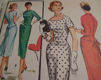 Vintage 1950's McCall's 3746 Dress Sewing Pattern, Size 18, Bust 38