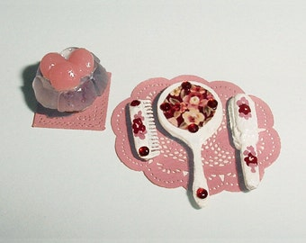 Dollhouse Miniature Dresser Vanity Set - One Inch Scale 1/12 Miniature White and Red Roses Hand Mirror, Brush, Combo with Pink Soap Holder