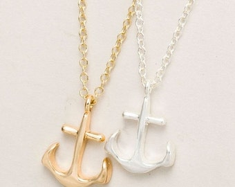 ON SALE Tiny Silver or Gold Anchor necklace. Friendship, BFF, Bridemaids,beach,Boho.