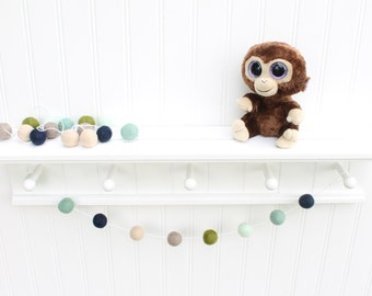 Pacific Coastal Felt Ball Garland, Pom Pom Garland, Nursery Decor, Bunting Banner, Party Decor, Holiday