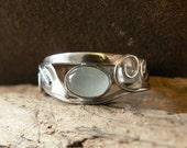 Aquamarine  silver ring. Elven silver ring. Elven leaf ring. Silver ring. Celtic ring. The Calder Crafter