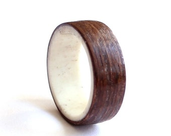 Mens Antler Ring, Women Wedding Ring,  Natural Wood  Wedding band, Wenge Wood Ring
