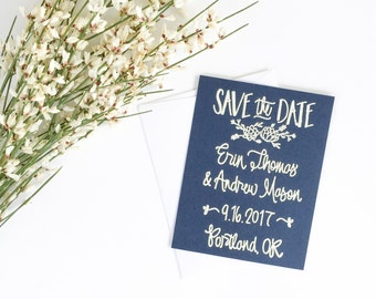 Custom Save the Date Stamp - succulent - Wedding Save the Date - hand lettered save the date - save the date custom stamp- succulent - H1500