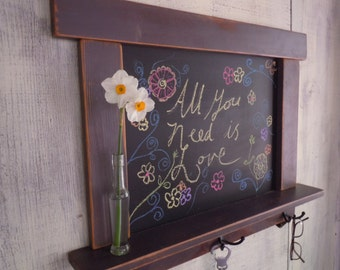 Kitchen Chalkboard-Craftsman style country chic with shelf and hooks 12 Colors to choose from -MADE TO ORDER