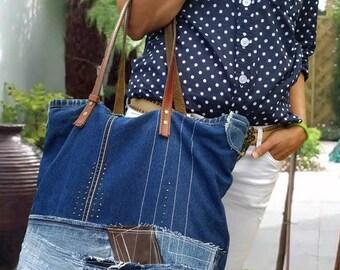 DENIM BAG, Jean HandBag, Denim Shoulder Bag, Hobo Bag, Denim Handbag,Jeans Bag, Denim Tote