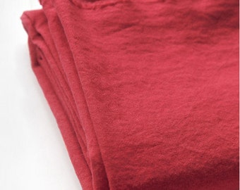 Washing Cotton Linen Solid - Red - By the Yard 86577