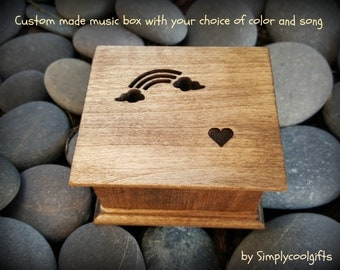 music box, musical box, music boxes, wooden music box, custom music box, personalized music box, simplycoolgifts, over the rainbow music box