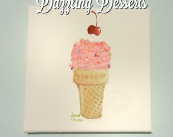 PAINTING   Strawberry Sprinkle Ice Cream Cone