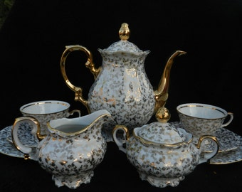 Vintage Gold Detail Teaset:  Porcelain Hand Decorated Great Gift for Mom, Mothers Day, Gift for Her