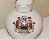 Vintage Porcelain Hamburg Vase - Hand Painted - Collectibles - Souvenirs - Bavaria - Home Decor - Lions - Gold Trim