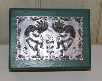 Kokopelli Hand Made Design on Metal Tin Wooden Box - Green - Southwest - Home Decor - Navajo - Jewelry Box - Native American - Rustic