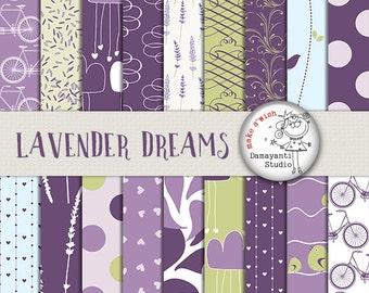 Lavender Digital Paper, Lilac Paper, Lavender Floral Paper, Wedding Card Making, DIY Invitation Paper, dot papers, bike papers, printables