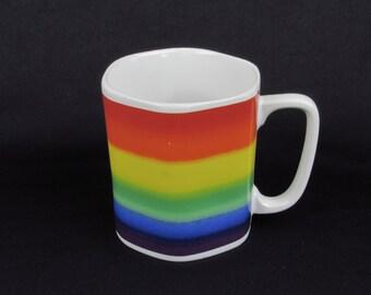 Rainbow Coffee Cup - Colorful - Retro Coffee Mug - Vintage Kitchen - Cheerful Home Drink Ware