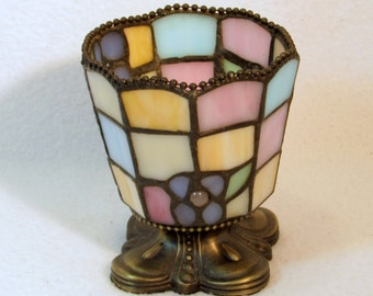 Unique Stained Glass Candle Holder in Pretty Pastel Colors - Vintage Home Lighting Decor