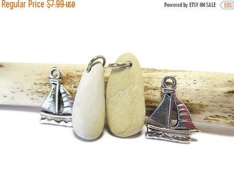 SALE Sail Away Stones/Two Lake Michigan Stone Pendants/Stainless Steel Jump Rings/Smooth Stone Bead Supply/Pewter Sailboat Charms/Stone Pend