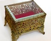 Ormolu Jewelry Casket Beveled Glass, Art Nouveau, Brass and Red Velvet Trinket Box