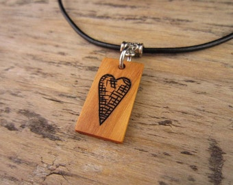 Small Heart Necklace, Heart Pendant, Small Wood Pendant, Wood Heart Charm On Leather Necklace