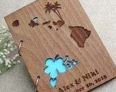 Hawaii Wedding Guest Book ,Custom Wedding Guest Book, Wooden Wedding Guest Book, Rustic Guestbook, Laser Engraved Guestbook, Love guestbook