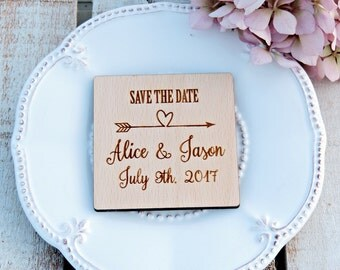 Save The Date Wood Magnet, Wooden Save The Date Magnet, Custom Magnet, Rustic Save The Date Magnet, Wedding Magnet, Rustic Magnet