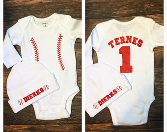 Personalized Baseball Infant Onesie & Hat Set