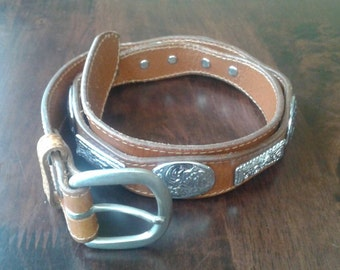 Brown leather western belt large silver studs