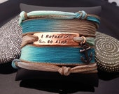 I refuse to sink hand stamped hand dyed silk wrap bracelet with anchor charm and  magnetic clasp by D2E Gallery