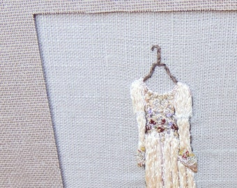 Framed hand embroidery wall art embroidered dress